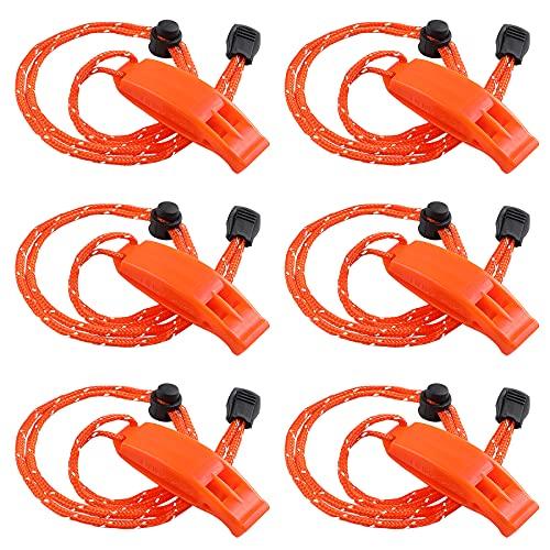 JULBEAR 6PCS Safety Survival Whistles with Adjustable Reflective Lanyard Emergency Plastic Signal Whistle Marine Whistle