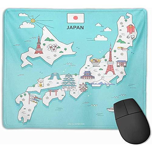 Gaming Mouse Pad, Schreibtisch Mousepad, Mausmatte Blaue Karte Japan Travel Landmark Collection Rote Ramen Sehenswürdigkeiten Umeda Asakusa