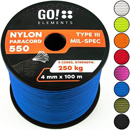GO!elements 100m Paracord de Nylon a Prueba de desgarros - 4mm Paracord 550 Typo III Cuerda - Adecuado como Cuerda Yute & Cuerda Gruesa | MAX. 250kg, Color:Azul