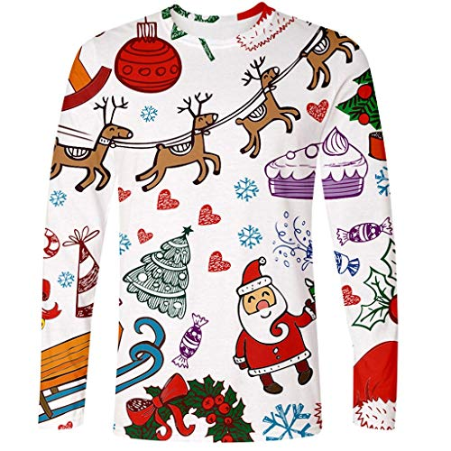 Great Deal! ZIAxiav Mens Ugly Christmas T-Shirt, Santa Claus Candy Cartoon Print Long Sleeve Top Blo...