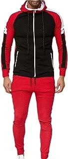 Mens Tracksuit Athletic Sports Casual Full Zip Active Sweatsuit Colorblock Set 2 Piece