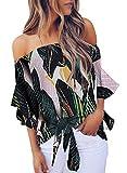 Asvivid Womens Bohemain Floral Printed Off The Shoulder Shirt Bell Sleeve Tops Ladies Self Tie Summer Blouse S Green
