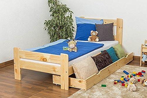 Kinderbett Jugend Kiefer Vollholz massiv natur A26, inkl. Lattenrost - Abmessung 90 x 200 cm