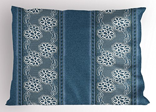 Fronha de travesseiro floral Ambesonne, fundo jeans azul com estampa de flores brancas, estampa digital temática de jeans, fronha decorativa tamanho king tamanho padrão impresso, 91,44 x 50,80 cm, azul branco