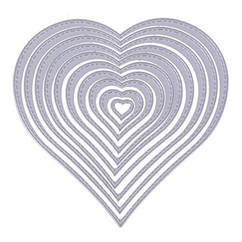 ACEHE Plantilla en Relieve, 10 Piezas de Troqueles de Corte de Metal en Forma de corazón, Plantilla en Relieve para álbum de Recortes, Tarjeta de Papel para Manualidades, decoración artística