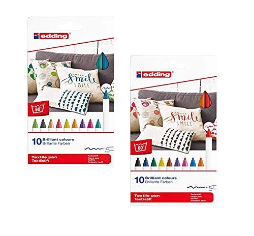 Edding Textilmarker 4600, Rundspitze, 1 mm (Special Pack 20 Farben, 1 mm) 4-4600 20er Set