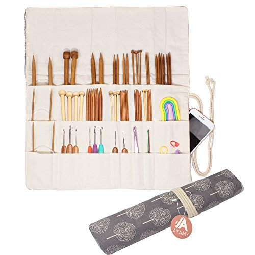 Knitting Needles Holder Case Rolling Organizer for Crochet Hooks Accessories, Mothers Day Gift (Gray Tree)