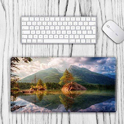 Alfombrilla de ratón extendida extra grande, hermoso paisaje de montaña en el lago transparente, tela de textura premium, base de goma antideslizante impermeable para teclado, oficina, hogar, 30x80cm(12x32inch)
