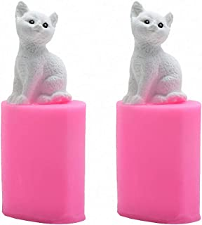 2Pcs Mini Size 3D Kitten Candle Molds, Small Kitty Cat Silicone Chocolate Candy Fondant Mold for Cake Decorating Resin Epoxy Casting Polymer Clay Mould Beeswax Candle Mold
