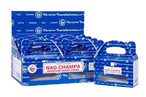 Satya Sai Baba Nag Champa Backflow Natural Incienso 120 conos en paquete de 12 cajas | mejor para oración, meditación y relajación