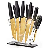 Golden Titanium Knife Set with Acrylic Stand, Kitchen Knives Set with Block, Scissor,Santoku knife,6 Golden Steak Knives Cutlery Gold Knife Set,14piece Set,Black Handle,Marco Almond