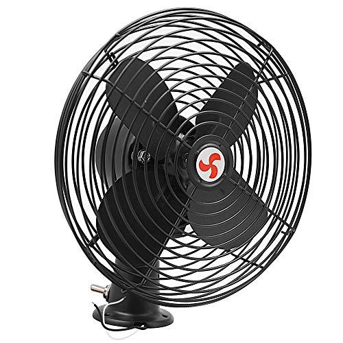 Facon 12V Car Fan, 8-3/4'' RV Cooling Fan with Switch, Heavy Duty Black Metal Fan, 2 Speed Fan – for Auto Truck, Car, RV, Camper, Trailer, Buses and Boats