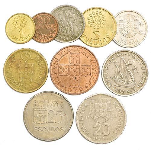 10 Monedas Antiguas de Portugal. Colección Monedas Escudos portugueses CENTAVOS 1969-2001. Ideal para Banco DE Moneda, SOSTENEDORES DE Moneda Y Album DE Monedas