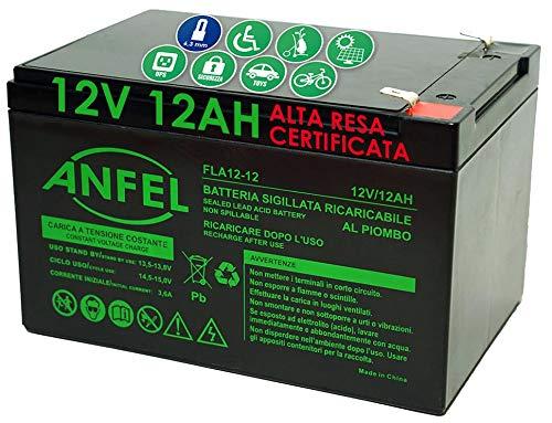 ANFEL 12V 12AH Batteria Ricaricabile al Piombo VRLA Faston F2 6.35mm per allarmi antifurti, sistemi di Sicurezza, Batterie di Ricambio per ups USV, Solar, Solarpanel
