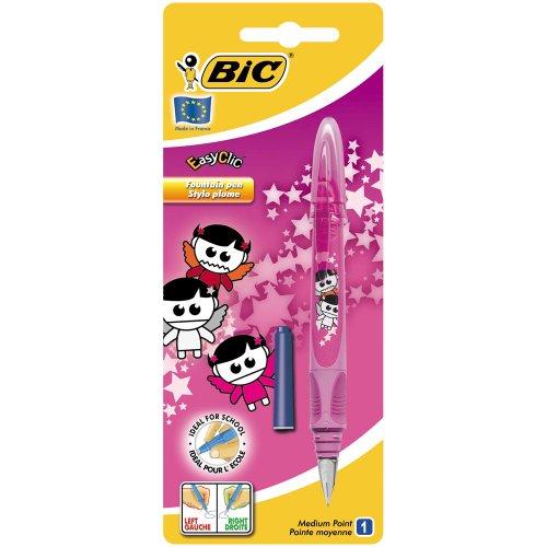 BIC Deutschland Easy Clic - Bolígrafo- pluma ergonómico diseño Ángeles color rosa