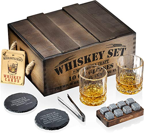Whiskey Stones Gift Set for Men | Whiskey Glass and Stones Set with Rustic Dark Wood Crate, 8 Granite Whiskey Rock Chilling Stones, 10oz Whiskey Glasses | Whiskey Gift For Men, Dad, Husband, Boyfriend
