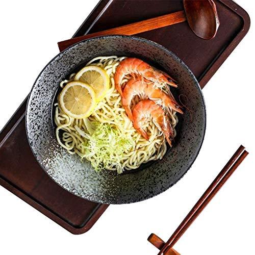 2 Sätze 6 Stück 60 Unzen Japanische Keramik Ramen Nudelsuppe Schüssel, Kreative Salatschüsseln mit Essstäbchen Löffel, Persönlichkeit Ramen Schalen für Müsli, Nudeln, Gemüse, Obstsalat