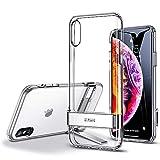 ESR Funda para iPhone XS MAX, Carcasa con Soporte de Metal [Soporte Vertical y Horizontal] [Protección contra Caídas Reforzada] Parte Posterior de TPU Suave para iPhone XS MAX de 6.5'-Transparente