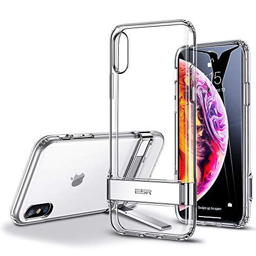"""ESR Funda para iPhone XS MAX, Carcasa con Soporte de Metal [Soporte Vertical y Horizontal] [Protección contra Caídas Reforzada] Parte Posterior de TPU Suave para iPhone XS MAX de 6.5""""-Transparente"""