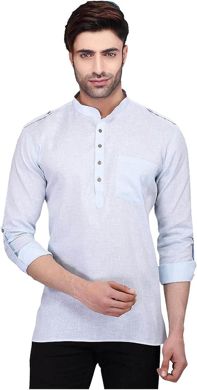 Designer Stylish Mens Regular Daily wear Comfortable and Relaxing White Cotton Short Kurta for Men. ICW3049-5-44