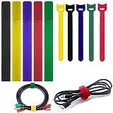 Ataduras Cables 50 pcs ajustables cable corbatas reutilizables Bridas Velcro para tableta Ordenador portátil PC TV Oficina en casa Gestión de cables