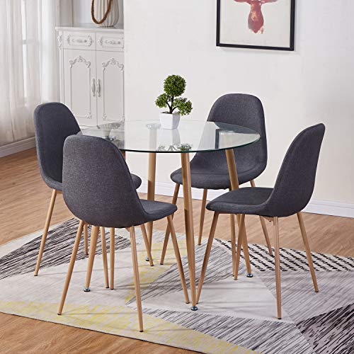 GOLDFAN Round Dining Table and 4 Chairs Kitchen Dining Table and Grey Fabric Chairs with Metal legs Dining Room Set