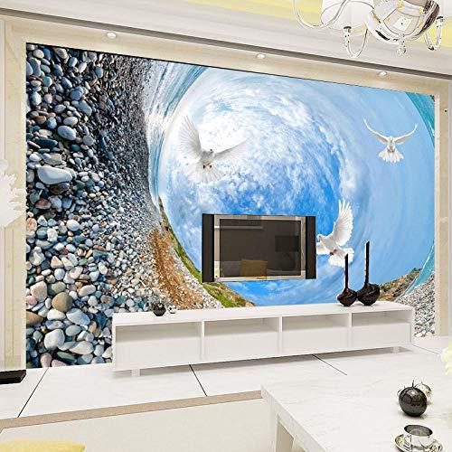 Mural De Paisaje De Pájaros De Cielo Azul De Vórtice Personalizado Papel Tapiz Estereoscópico 3D Para Sala De Estar Tv Sofá Fondo Decoración Del Hogar,200(W)*140(H)Cm