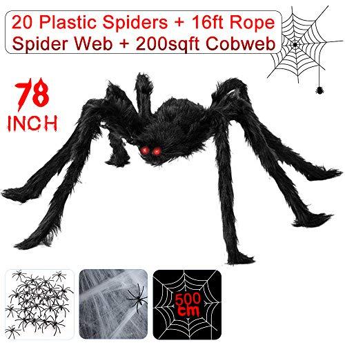Große Spinne 200cm, Halloween Spinnennetz Deko inkl. Spinne mit roten Augen + 500cm Spinnennetz + Spinnweben + 20 mini Spinnen, Halloween Requisiten geruseliges Halloween Dekoration Set Garten