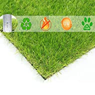 【WHERE TO USE】1. Doormat, surf turf, artificial grass pet turf is safe for your pets in your yard. 2.Area Rug , artificial grass mat is thick enough to be used for sports area or grass runner for patio flooring. 3.Dog training mat, fake lawn can be u...