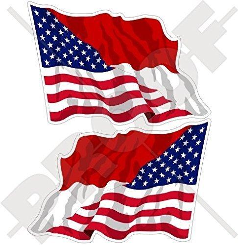 USA Vereinigte Staaten von Amerika und INDONESIEN, Amerikanisch und Indonesische Wehende Flagge, Fahne 75mm Auto & Motorrad Aufkleber, x2 Vinyl Stickers (Links - Rechts)