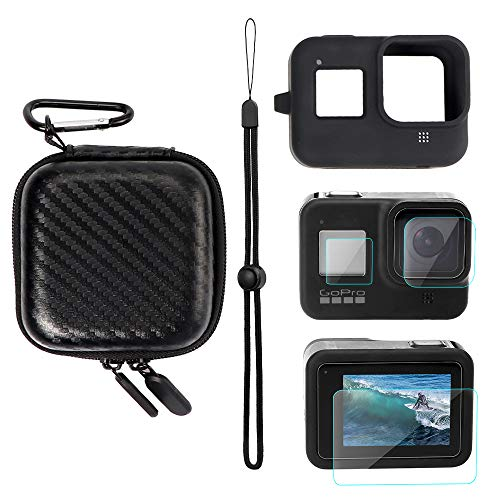 YSTFLY Portable Protective Carry Case,Silicone Protective Cover Case and Lens Film for GoPro Hero 8 Black