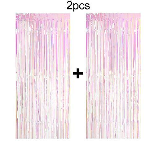 Easy Joy 2 Pack Big Metallic Tinsel Curtains Rosa Polarizado, Foil Fringe Shimmer Curtain Door Way Wall Back Drop Decoration for Unicorn Birthday Wedding Party Cumpleaños Fiesta(Pastel)