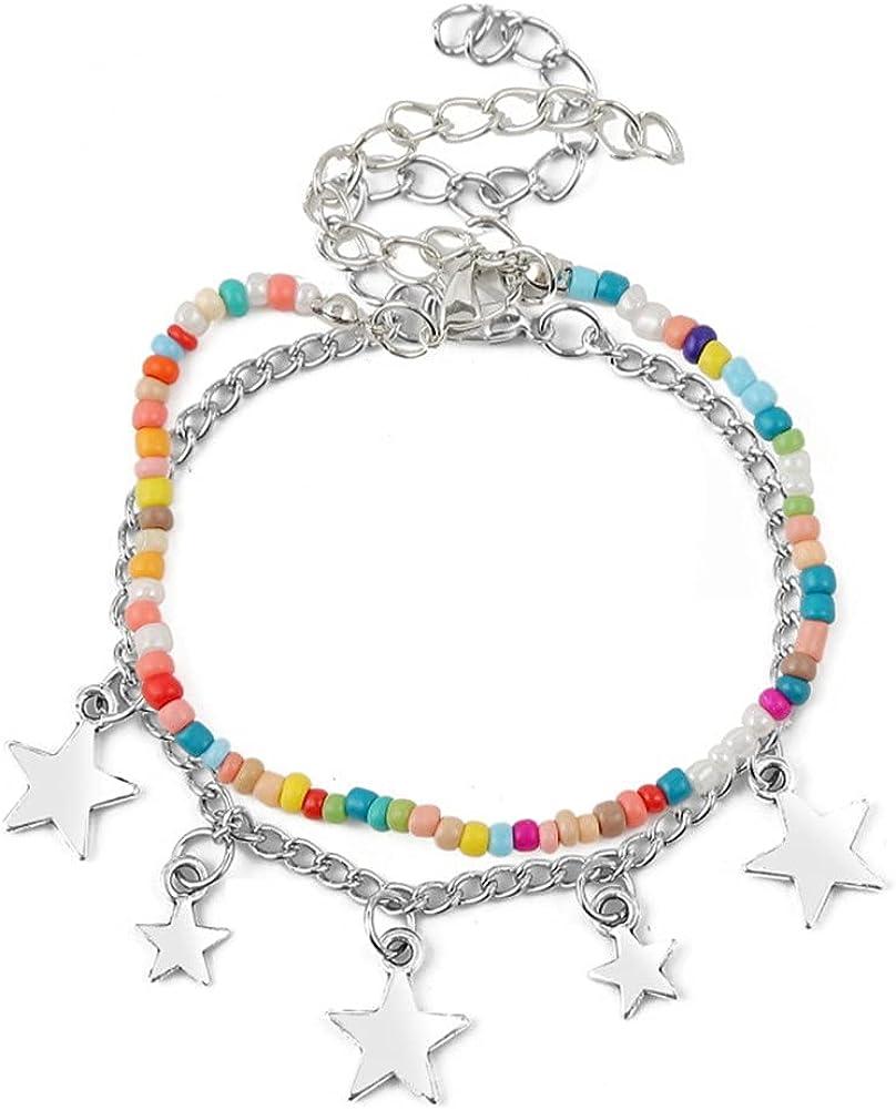 Hifunny Layered Beaded Star Bracelet Boho Rice Bead Star Charm Bracelet Adjustable for Women Girls Jewelry Gifts 2 pcs Set
