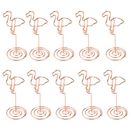 Vorcool - Lot de 10 pinces porte-mémo photo en métal marque-place pour mariage, motif flamand, rose doré