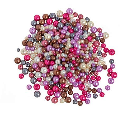 Perles en verre cirées, Mélange « Violet coloré », 150 g