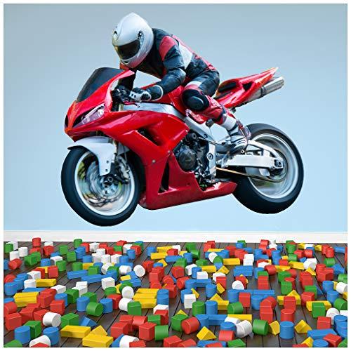 azutura Red Motorrad Wandtattoo Superbike Motorrad Wand Sticker Jungen Schlafzimmer Dekor Erhältlich in 8 Größen Groß Digital