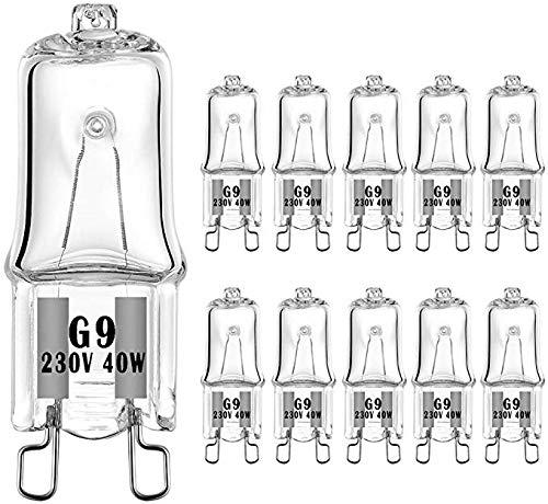VINBE G9 Halogen Glühbirne G9 T4 40W JCD Bi-Pin 480LM 230V Dimmbar, 2700K Warmweiß,für Kronleuchter, Anhänger, Schranklichter, Landschaftslichter, Schreibtisch- und Stehlampen, Wandlampen, (10er Pack)