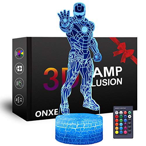 ONXE Luz nocturna LED 3D de superhéroe, lámpara de ilusión óptica de 16 colores, regulable, alimentado por USB y control táctil con base de grieta y control remoto para regalo de cumpleaños (Iron Man)