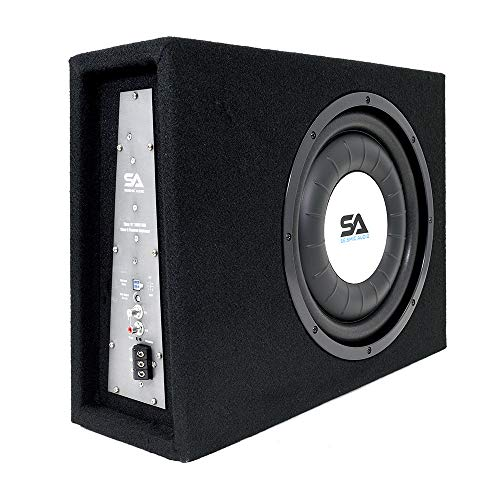 Seismic Audio - SA-SCE12-A - Powered 12 Inch 600 Watt Slim Shallow Mount Car Truck Audio Subwoofer Enclosure