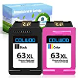 COLWOD ReManufactured Ink Cartridge Replacement for HP 63 63XL use with HP OfficeJet 5255 3830 4650 5258 3832 HP DeskJet 2132 3630 3636 HP Envy 4525 4528(1 Black + 1 Tri-Color)