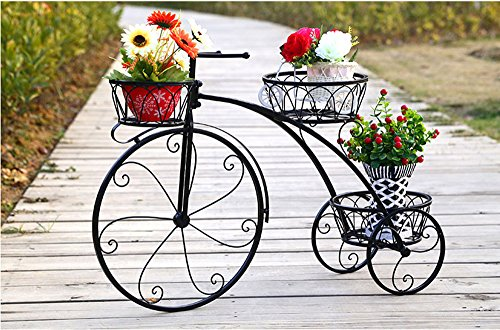 LIYG Bicicleta, soporte de flores, soporte de flores de hierro forjado, soporte...