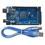 DollaTek Tarjeta controladora Mega 2560 R3 ATmega2560 ATMEGA16U2 con Cable USB Versión Azul Compatible con Arduino Mega Kit
