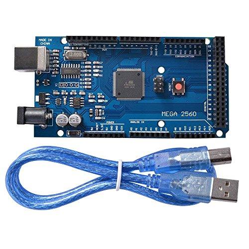 DollaTek Scheda Controller Mega 2560 R3 ATmega2560 ATMEGA16U2 con Cavo USB Versione Blu Compatibile con Arduino Mega Kit