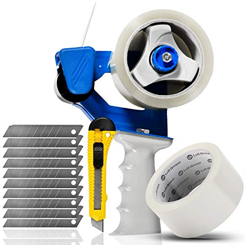 Packbandabroller Klebebandabroller inkl Klebeband, Messer, Klingen| XXL Set 13 tlg.| Packband Roller Abroller Handabroller für Paketklebeband | Packbandroller für schnelles & ergonomisches Verpacken