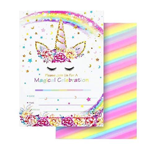 Losuya 24 Sätze Glitter Unicorn Geburtstagsparty Einladungskarten Doppelseitig mit 24 Umschläge Unicorn Einladungen für Kinder Geburtstag Unicorn Party Dekoration (Regenbogen)