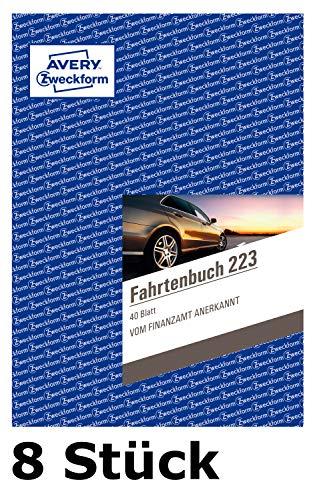 8er Sparbundle Avery Zweckform 223 Fahrtenbuch für PKW (A5, 40 Blatt) weiß