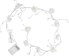 Led-lichtsnoer, werkt op batterijen, met witte rozen en parels, 10 ledlampjes in warmwit, tafeldecoratie voor binnen, roze...
