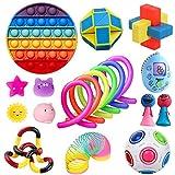 Fidget Pack of 19Pcs Pop Fidget Stress Anxiety Relief Toys Set Sensory Fidget Toys for Autistic Children Fidget Toy Set Children