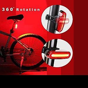 OUNDEAL Luz Trasera Bicicleta, Luz Bicicleta LED, Luz LED Trasera Bicicleta Recargable USB, Faro Trasero Bici con 6 Modos, Luces Bicicleta Trasera para Seguridad de Ciclismo