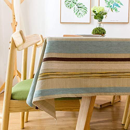 Ai-Home Nappe carrée en coton et lin avec broderie tridimensionnelle bleue et jaune à rayures 130 × 130 cm